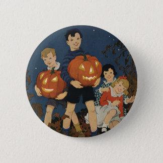 Vintage Halloween, Children holding Pumpkins Button
