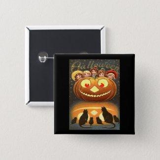 Vintage Halloween Children, Jack o' Lantern & Cats Button
