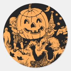 Vintage Halloween Children's Party Classic Round Sticker at Zazzle