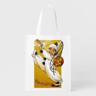 Vintage Halloween Clown Grocery Bag