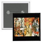 Vintage Halloween Collage 2 Inch Square Button