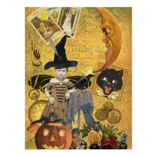 Vintage Halloween Collage Postcard