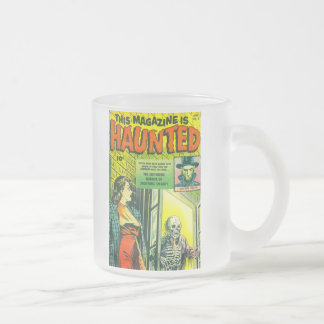 Vintage Halloween Comic Book Frosted Glass Coffee Mug