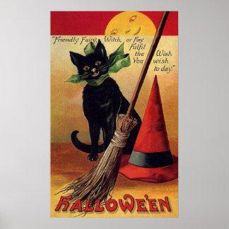 Vintage Halloween con un gato negro, una escoba y Póster