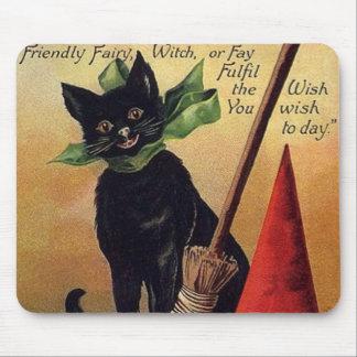 Vintage Halloween con un gato negro una escoba y Tapete De Raton