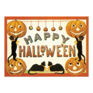 Vintage Halloween Costume Party Black Cats Pumpkin Invitation