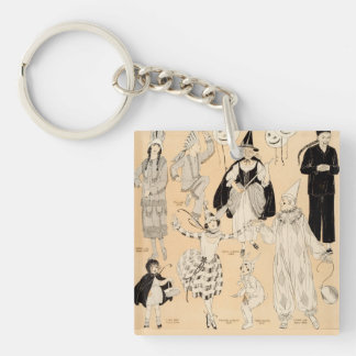 Vintage Halloween Costumes Children Adult Witch Square Acrylic Keychains