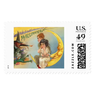 Vintage Halloween Couple on Moon Stamps