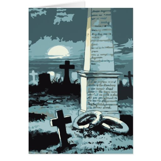 Vintage Halloween, Creepy Cemetery with Graves Card