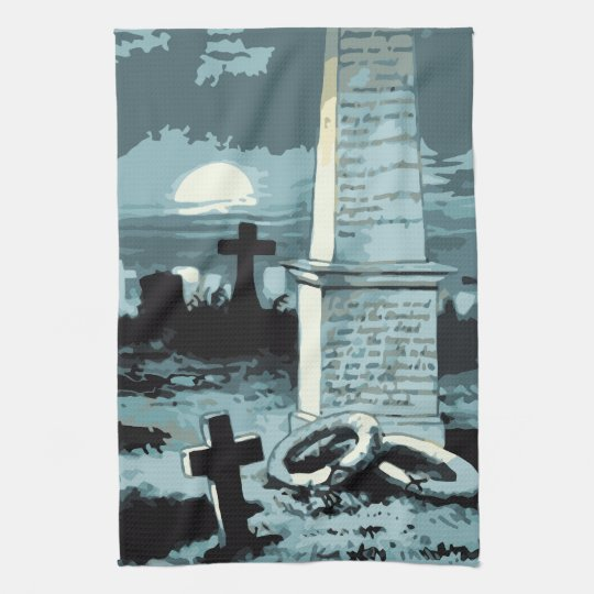 Vintage Halloween, Creepy Cemetery with Graves Kitchen Towel