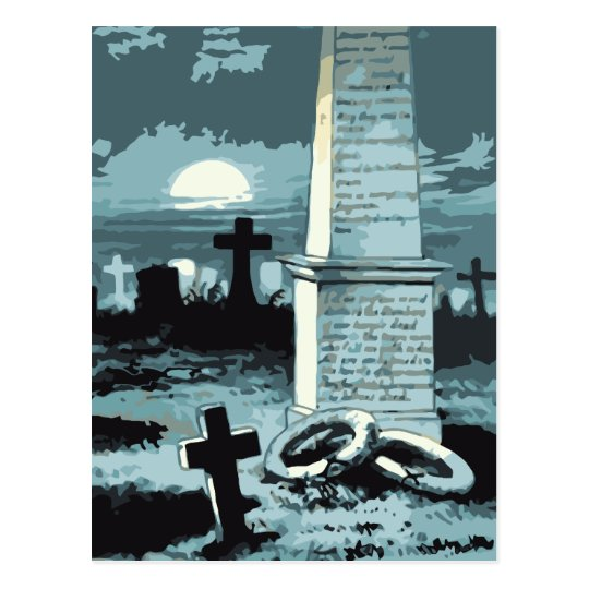 Vintage Halloween, Creepy Cemetery with Graves Postcard