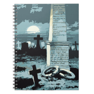 Vintage Halloween, Creepy Cemetery with Graves Spiral Note Book