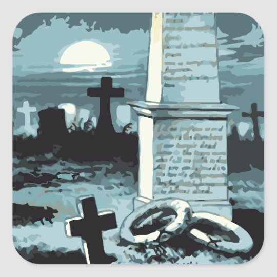 Vintage Halloween, Creepy Cemetery with Graves Square Sticker
