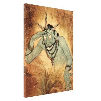 Vintage Halloween, Creepy Demon Monster with Horns Canvas Print