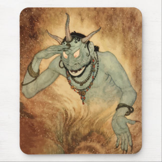 Vintage Halloween, Creepy Demon Monster with Horns Mouse Pad