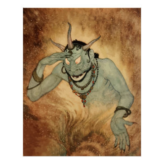 Vintage Halloween, Creepy Demon Monster with Horns Poster