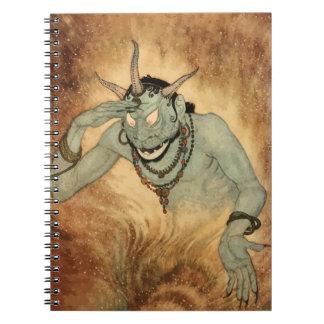 Vintage Halloween, Creepy Demon Monster with Horns Spiral Notebook