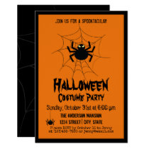 Vintage Halloween Creepy Scary Black Spider Party Invitation