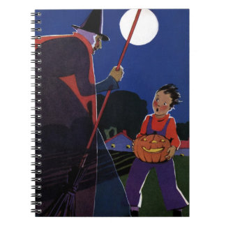 Vintage Halloween, Creepy Witch with Boy Spiral Notebook