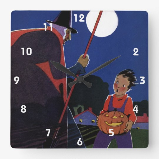 Vintage Halloween, Creepy Witch with Boy Square Wall Clock