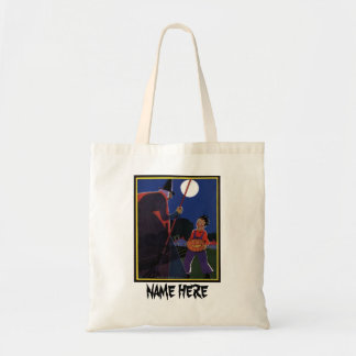 Vintage Halloween, Creepy Witch with Boy Tote Bag