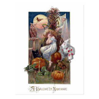 Vintage Halloween Critters and Lady in Cornfield Postcard