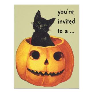 Vintage Halloween, Cute Black Cat in a Pumpkin 4.25x5.5 Paper Invitation Card