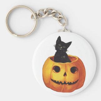 Vintage Halloween, Cute Black Cat in a Pumpkin Basic Round Button Keychain