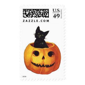 Vintage Halloween, Cute Black Cat in a Pumpkin Postage