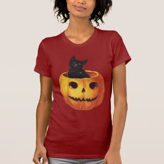 Vintage Halloween, Cute Black Cat in a Pumpkin T-Shirt