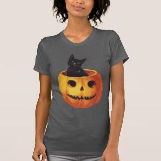 Vintage Halloween, Cute Black Cat in a Pumpkin T-Shirt