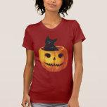 Vintage Halloween, Cute Black Cat in a Pumpkin Tee Shirt