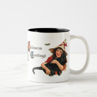 Vintage Halloween Cute Witch and Cat Mugs