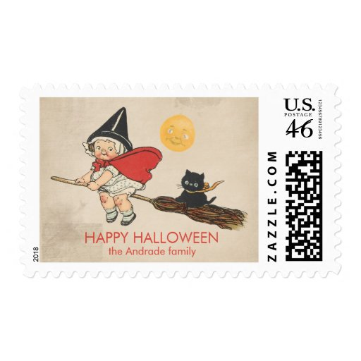 Vintage Halloween Cute Witch Broom Cat Customized Postage Stamps