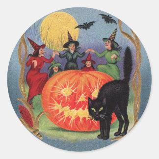 Vintage Halloween Dancing Witches Sticker