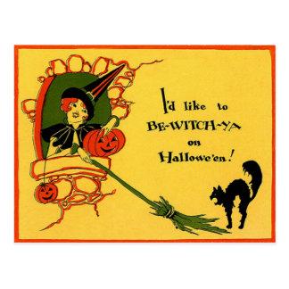 Vintage Halloween de la calabaza del gato negro de Postal