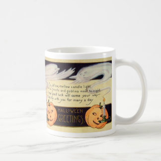 Vintage Halloween de la linterna de Jack O de la v Tazas De Café