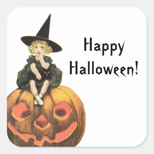 Vintage Halloween de la mujer de Witchy Pegatina Cuadrada