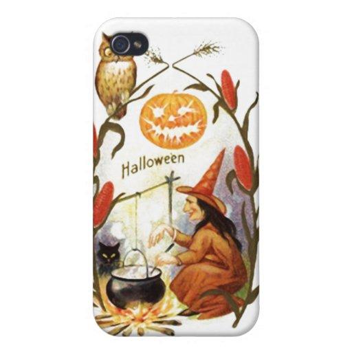 Vintage Halloween del Brew de las brujas iPhone 4 Funda