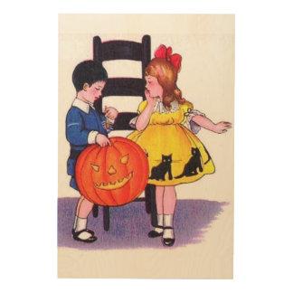 Vintage Halloween del fiesta de los niños Cuadro De Madera
