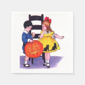 Vintage Halloween del fiesta de los niños Servilleta De Papel