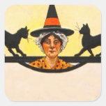 Vintage Halloween del gato negro de la bruja Pegatina Cuadrada