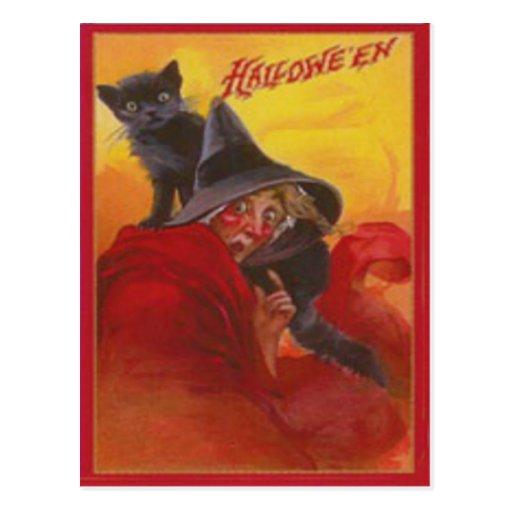 Vintage Halloween del gato negro de la bruja Tarjetas Postales