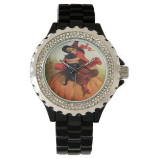 Vintage Halloween del gato negro de la calabaza de Reloj