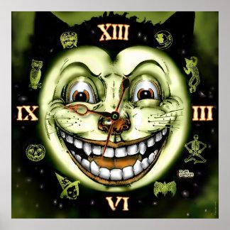 Vintage Halloween del reloj del gato negro 13 Póster