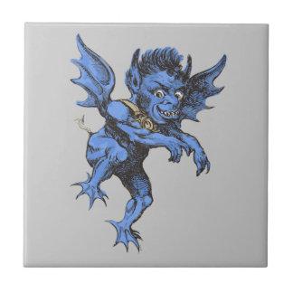 Vintage Halloween, demonio malvado asustadizo del Azulejo Cuadrado Pequeño