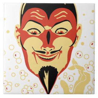 Vintage Halloween Devil Head #2 Ceramic Tile