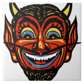 Vintage Halloween Devil Head Ceramic Tile
