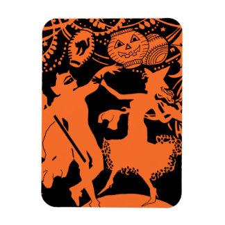 Vintage Halloween Devil Witch Dance Rectangular Magnets