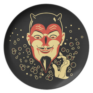 Vintage Halloween Devil with Bubbles Plate